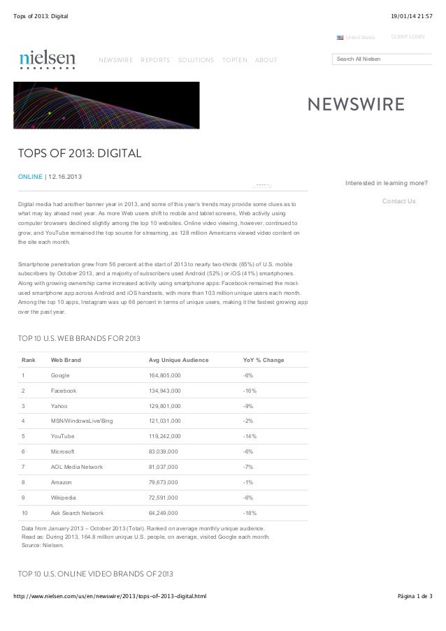 Tops of 2013: Digital  19/01/14 21:57  United States  NEWSWIRE  REPORTS  SOLUTIONS  TOPTEN  CLIENT LOGIN  Search All Niels...