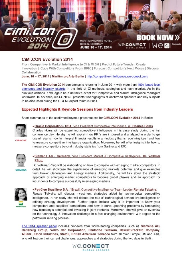 CiMi.CON Evolution 2014 From Competitive & Market Intelligence to CI & MI 3.0 | Predict Future Trends | Create Innovation ...