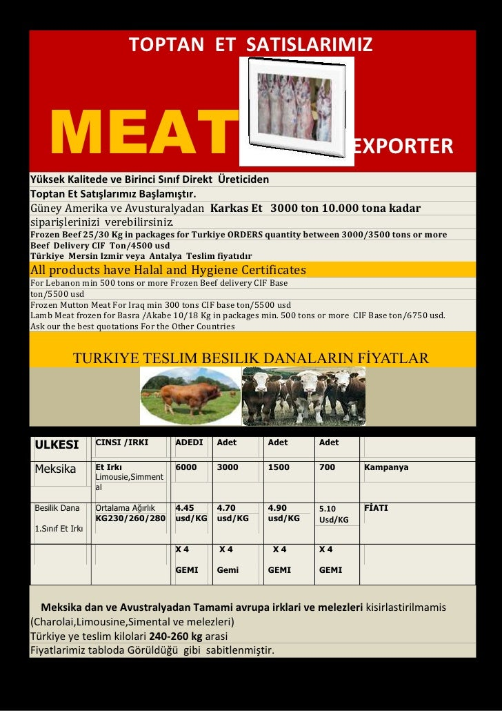 Whole Frozen Carcass  Meat Sales