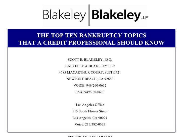 Top Ten Bankruptcy Topics