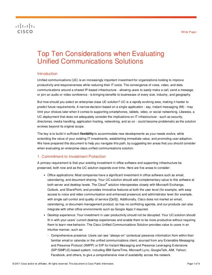 Top Ten Considerations When Evaluating Unified Communications Solutions