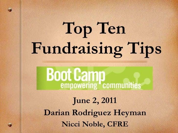 Top Ten Fundraising Tips