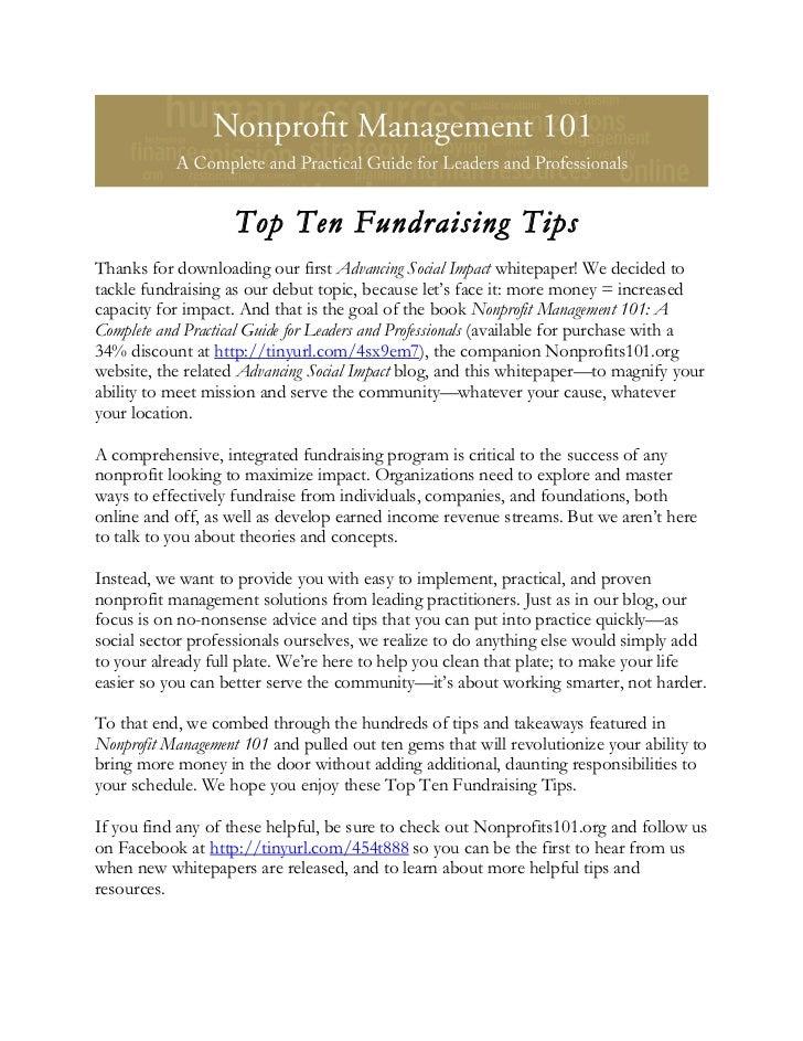 Top Ten Fundraising Tips white paper