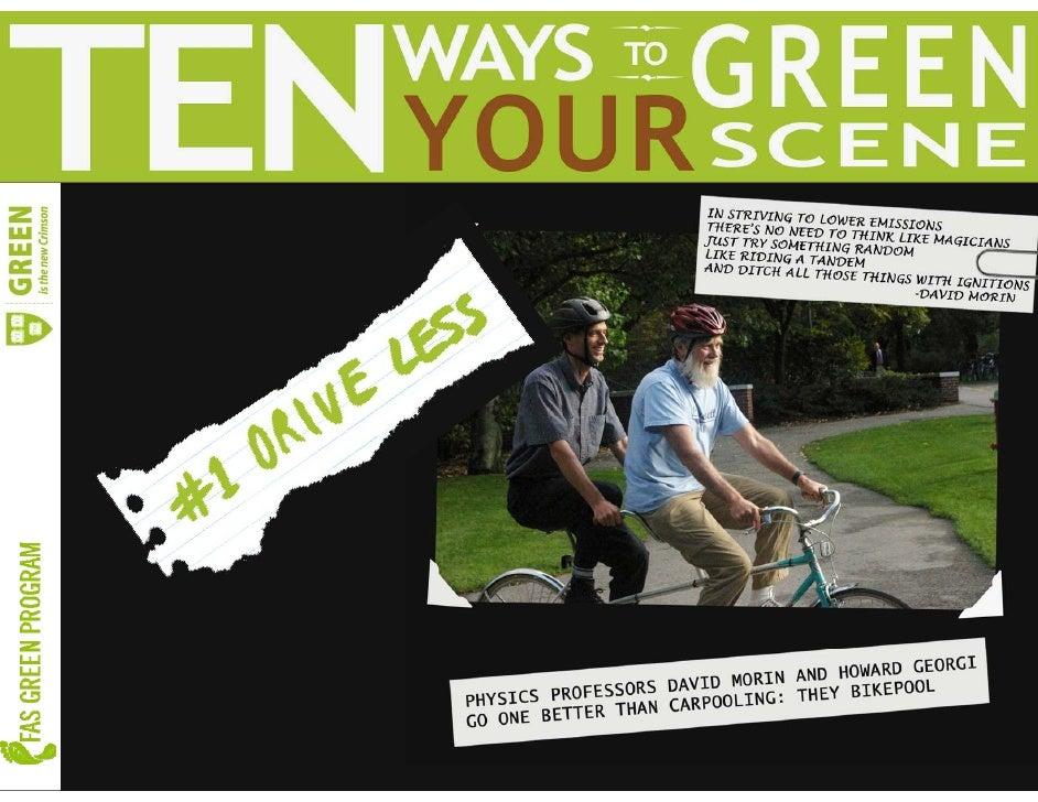 Harvard's Top Ten Ways to Green Your Scene