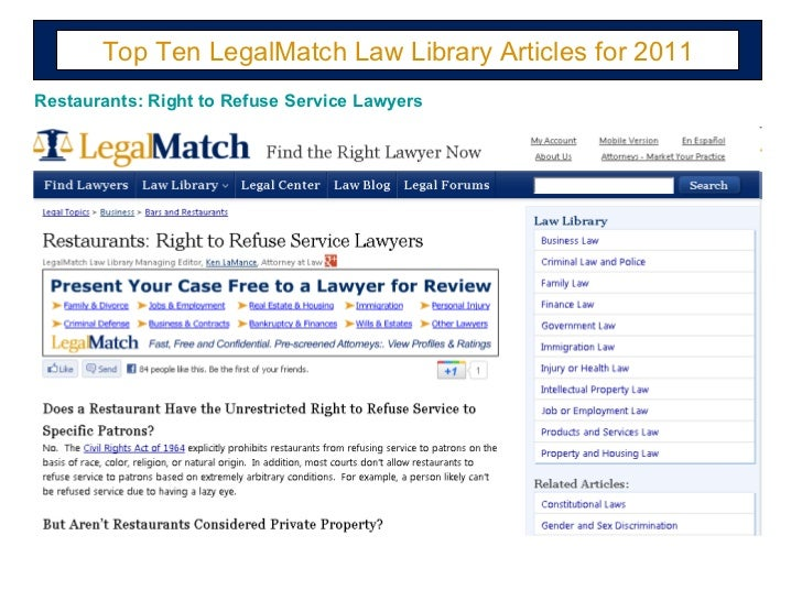 Top Ten LegalMatch Law Library Articles for 2011 Restaurants: Right to Refuse Service Lawyers