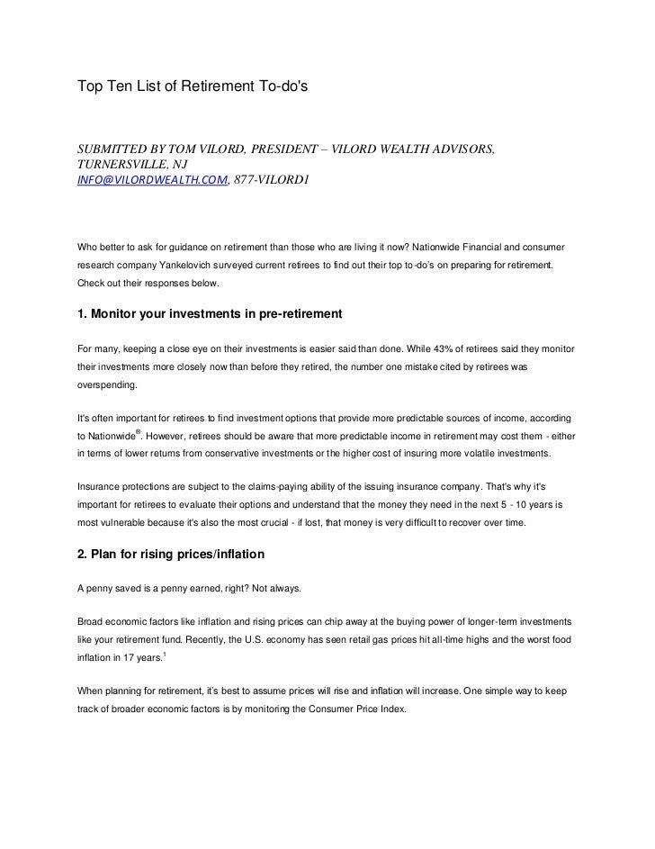 Top Ten List of Retirement To-dosSUBMITTED BY TOM VILORD, PRESIDENT – VILORD WEALTH ADVISORS,TURNERSVILLE, NJINFO@VILORDWE...