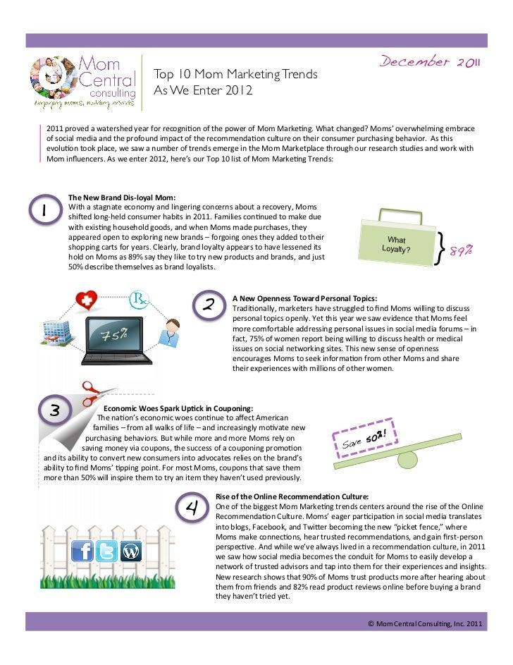 December 2011!                                         Top 10 Mom Marketing Trends                                        ...