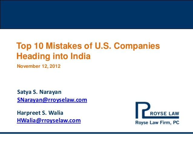 Top Ten Mistakes Of U.S. Companies Heading Into India.