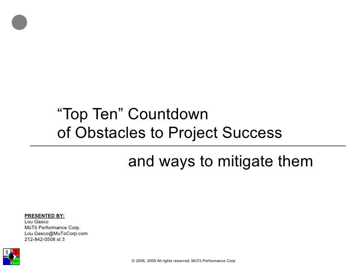 Top Ten Obstacles To Project Success