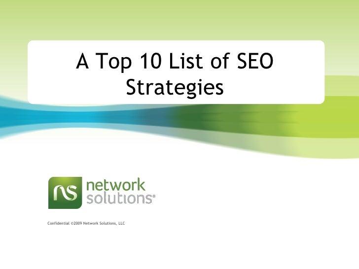 A Top 10 List of SEO Strategies