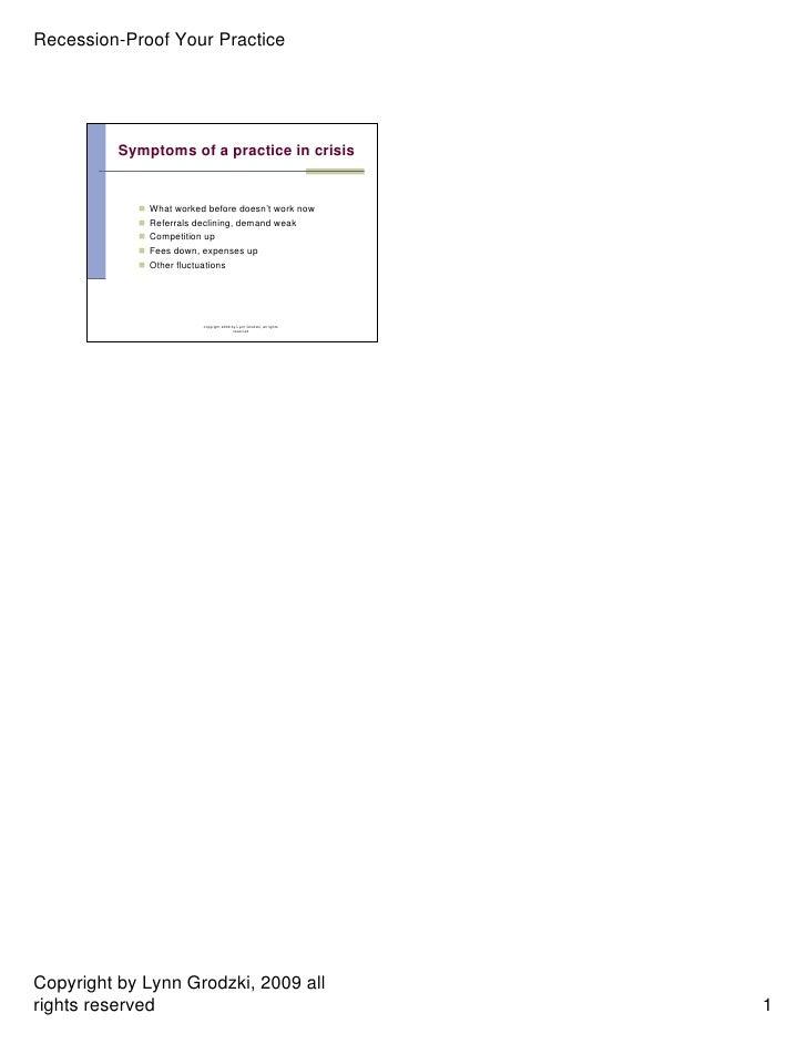 Top Ten Stepsto Recession Proof Your Practice2009 Handouts