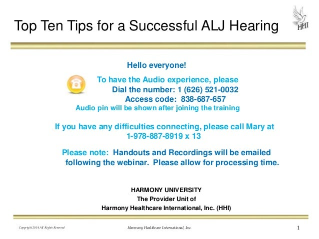 Please note: Handouts and Recordings will be emailed following the webinar. Please allow for processing time. HARMONY UNIV...