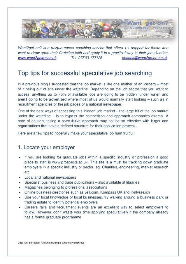 Top tips for successful speculative job searching
