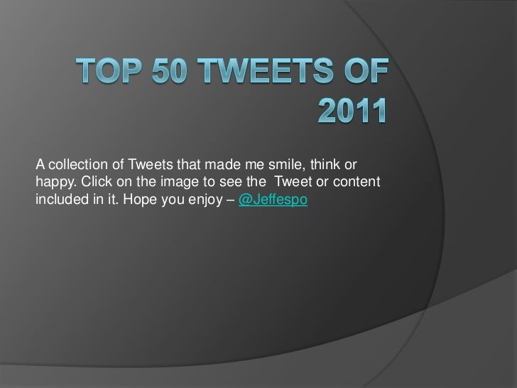 A collection of Tweets that made me smile, think orhappy. Click on the image to see the Tweet or contentincluded in it. Ho...
