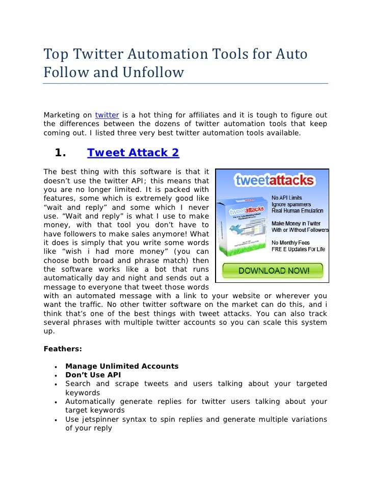 Top Twitter Automation Tools for AutoFollow and UnfollowMarketing on twitter is a hot thing for affiliates and it is tough...