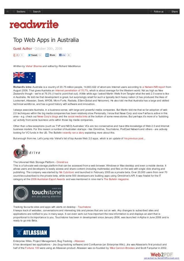 Top Web Apps Australia - 2006