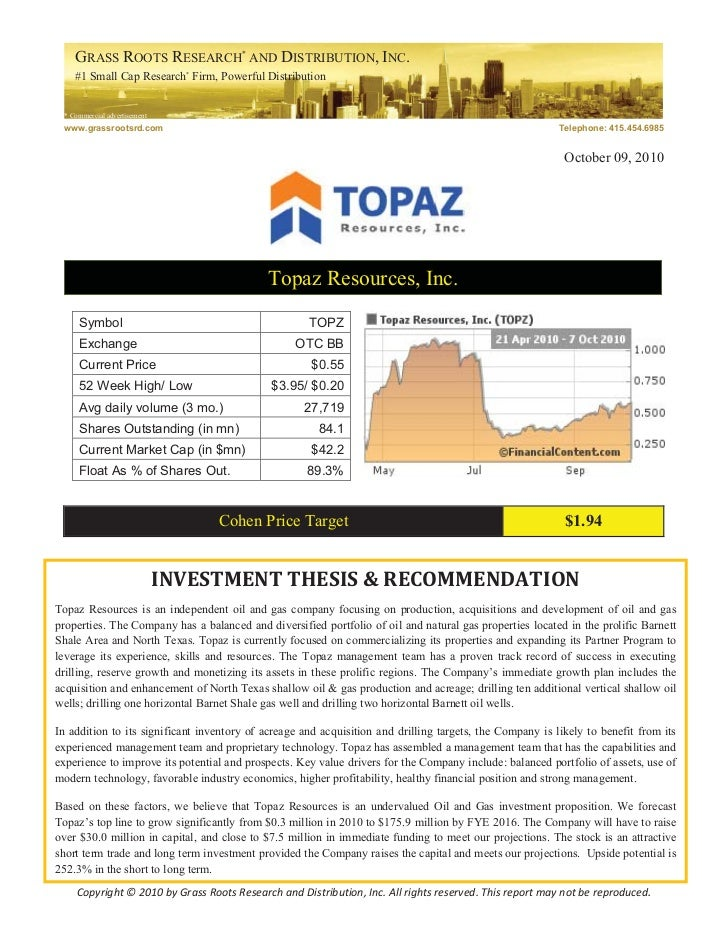 GRASS ROOTS RESEARCH* AND DISTRIBUTION, INC.    #1 Small Cap Research* Firm, Powerful Distribution * Commercial advertisem...