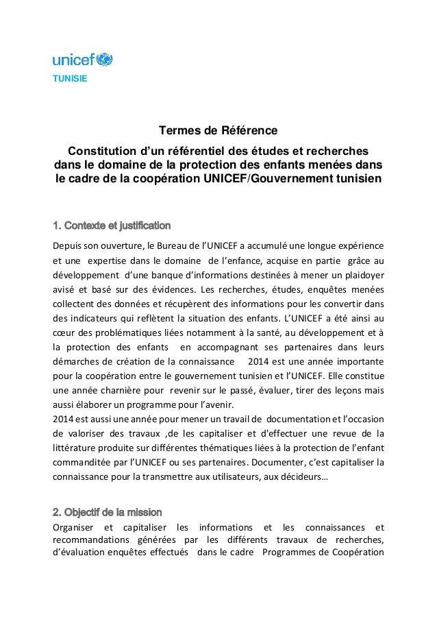 TUNISIE Termes de Référence Constitution d'un référentiel des études et recherches dans le domaine de la protection des en...