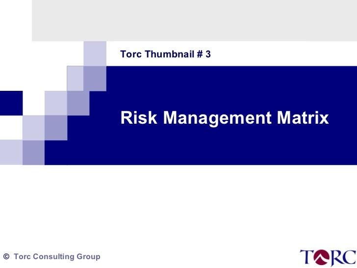 Torc Thumbnail # 3 Risk Management Matrix