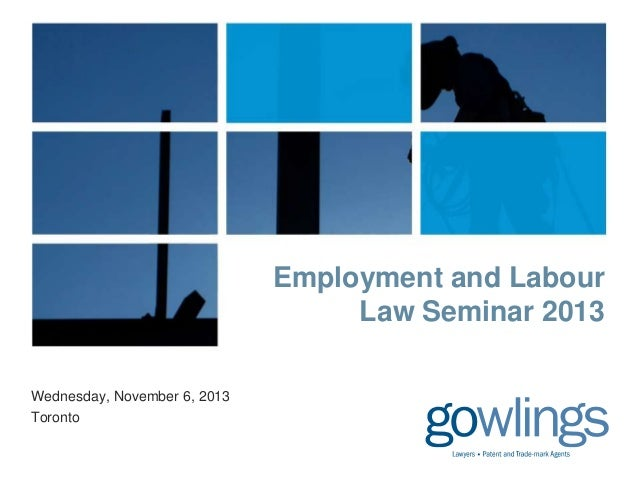 Employment and Labour Law Seminar 2013 Wednesday, November 6, 2013 Toronto