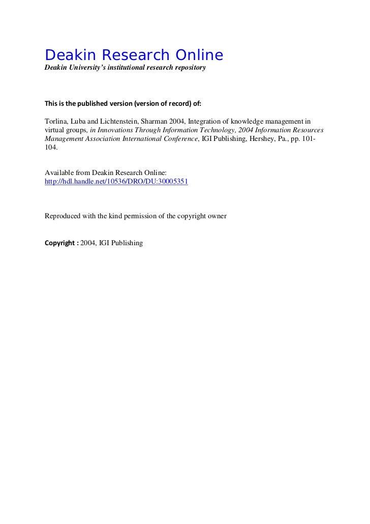 Deakin Research OnlineDeakin University's institutional research repositoryDDeakin Research OnlineResearch OnlineThis is t...