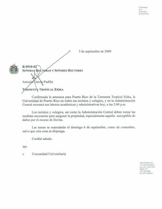 Comunicado  de García Padilla, UPR -Tormenta  Tropical Erika