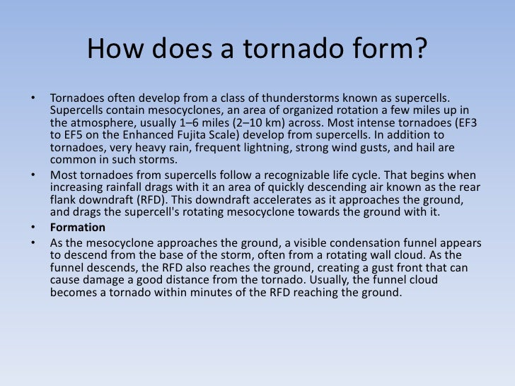 How does a tornado form br tornadoes often develop from