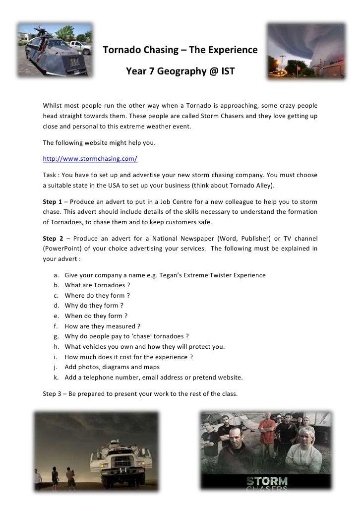 Tornado Chasing - Year 7 Geography. Task Sheet.