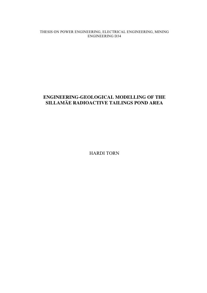 THESIS ON POWER ENGINEERING, ELECTRICAL ENGINEERING, MINING                      ENGINEERING D34      ENGINEERING-GEOLOGIC...