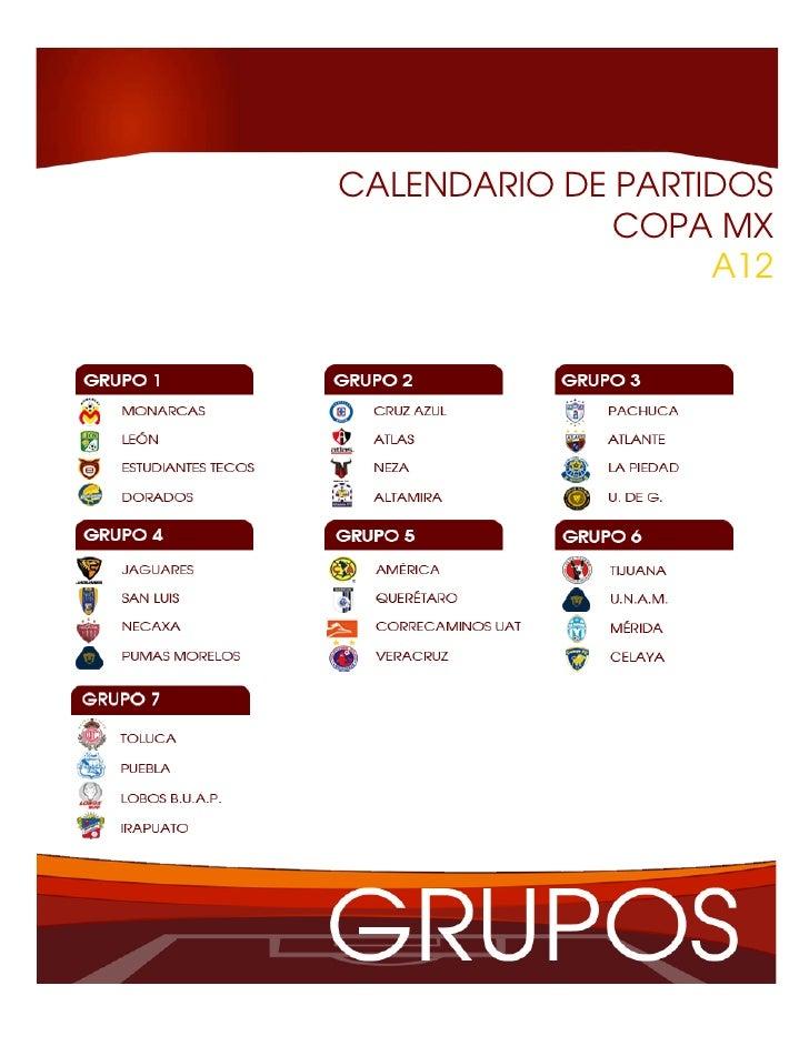 CALENDARIO DE PARTIDOS              COPA MX                   A12