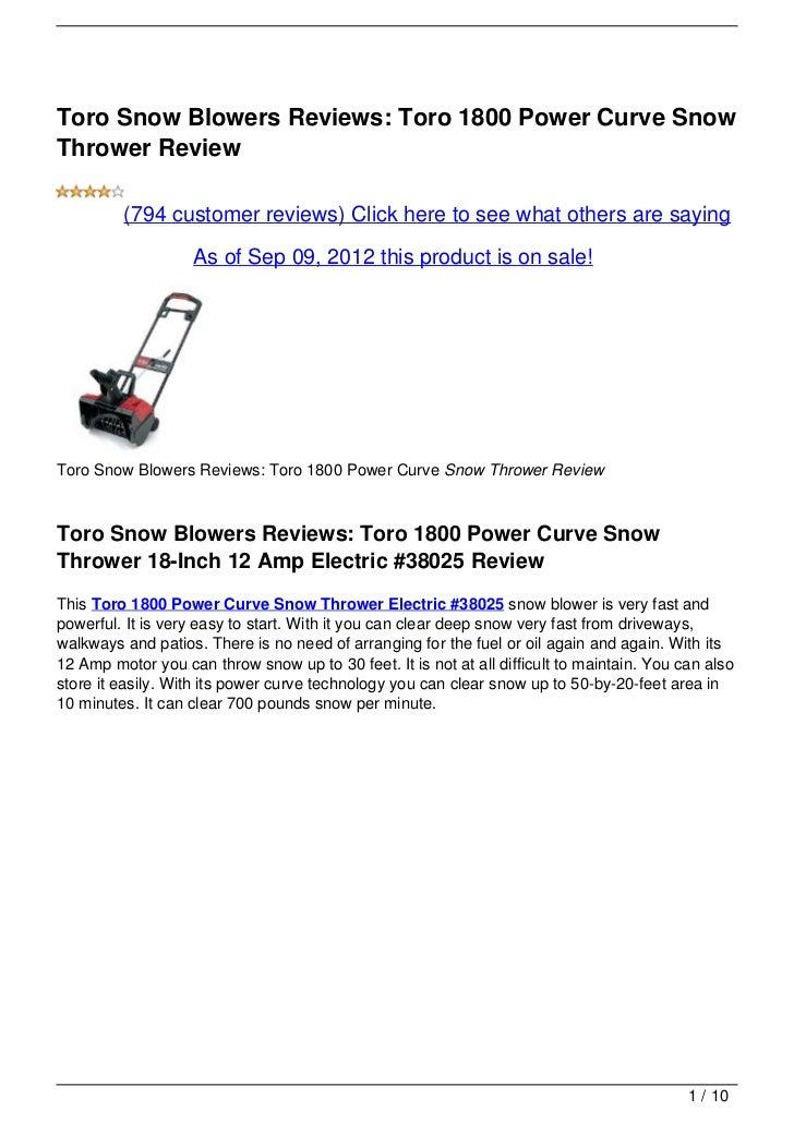 Toro Snow Blowers Reviews: Toro 1800 Power Curve Snow Thrower Review
