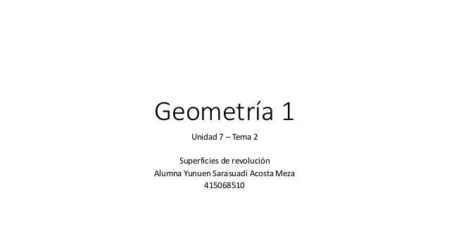 Geometría 1  Unidad 7 – Tema 2  Superficies de revolución  Alumna Yunuen Sarasuadi Acosta Meza  415068510