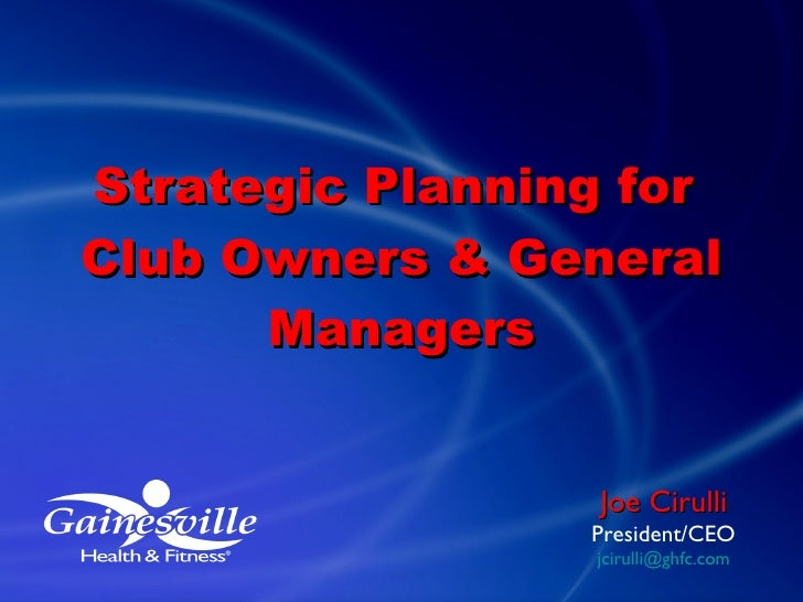 Toronto - Strategic Planning for Club Owners & General Managers