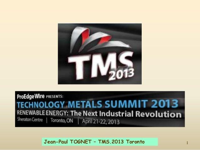 1Jean-Paul TOGNET – TMS.2013 Toronto