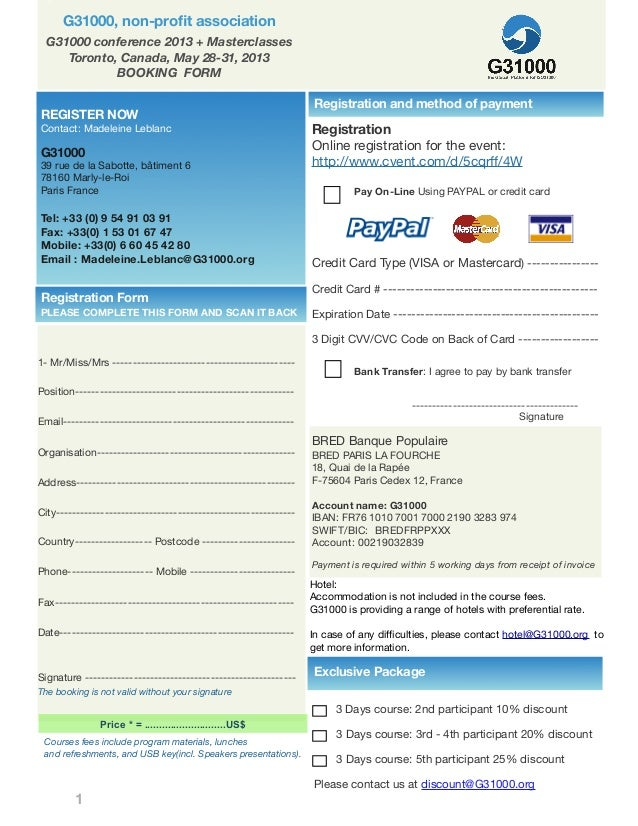 Toronto conference booking form 4 16