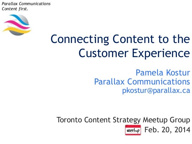 Parallax Communications Content first.  Connecting Content to the Customer Experience Pamela Kostur Parallax Communication...