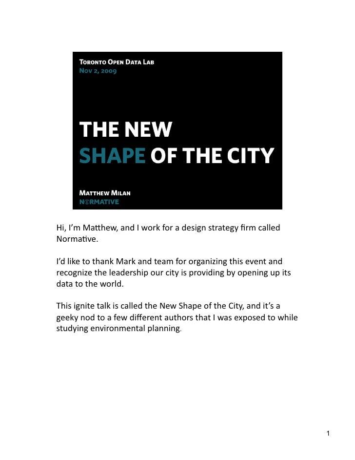 City State - Toronto  Open  Data  Workshop  Ignite  Presentation