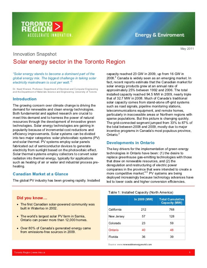 "May 2011Innovation SnapshotSolar energy sector in the Toronto Region""Solar energy stands to become a dominant part of the ..."