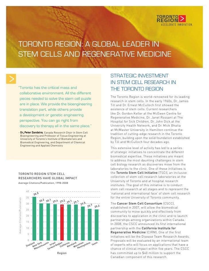 Toronto Region Stem Cell Fact Sheet   Mar 09