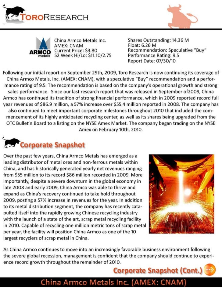 Toro Research Report cnam_073010