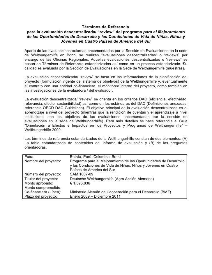 TOR Programa Regional Derechos de Infancia