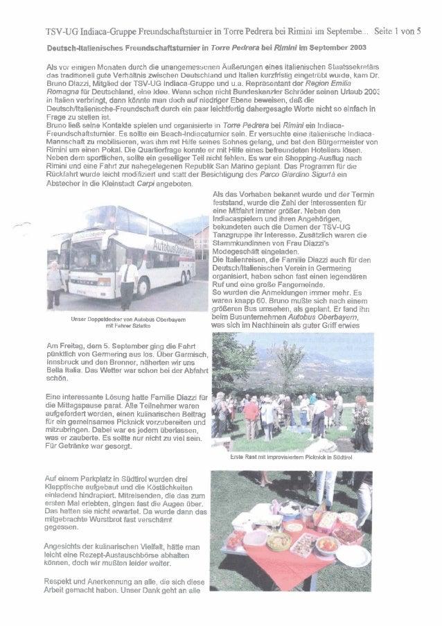 TSV-UG Indiaca-Gmppe Freundschaftstumier in Torre Pedrera bei Rimini i Septembe . Seite 1 von 5 m Deutsch-italienisches Fr...