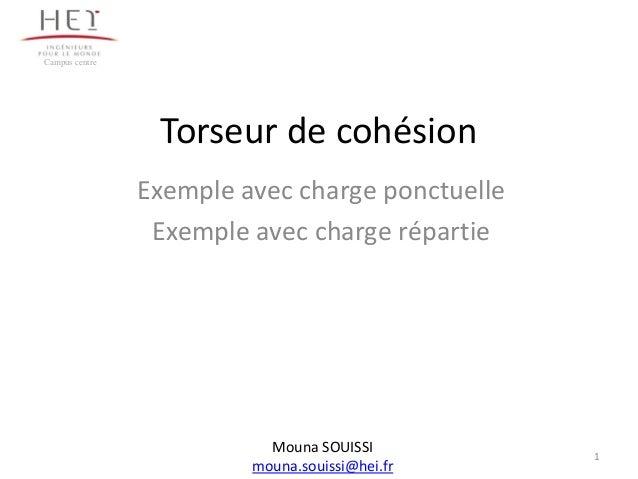 Torseur de cohésionExemple avec charge ponctuelleExemple avec charge répartie1Campus centreMouna SOUISSImouna.souissi@hei.fr
