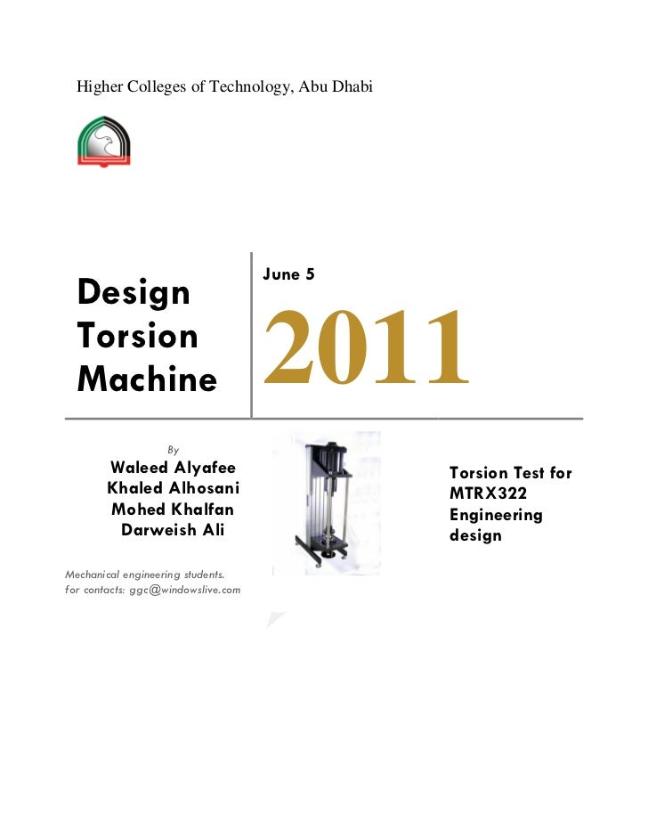 Higher Colleges of Technology, Abu Dhabi                                    June 5  Design  Torsion  Machine              ...