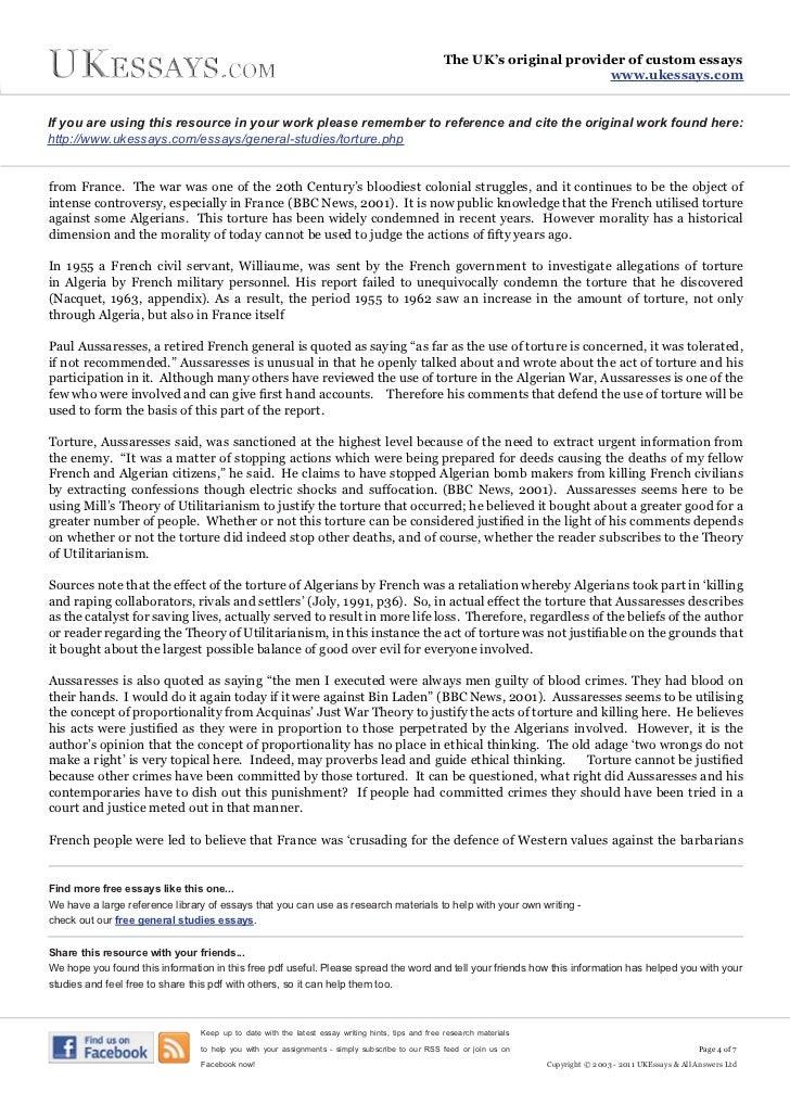 general studies essays   use of torture