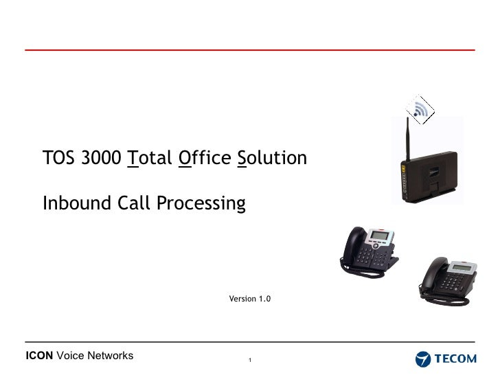 TOS 3000  T otal  O ffice  S olution  Inbound Call Processing Version 1.0