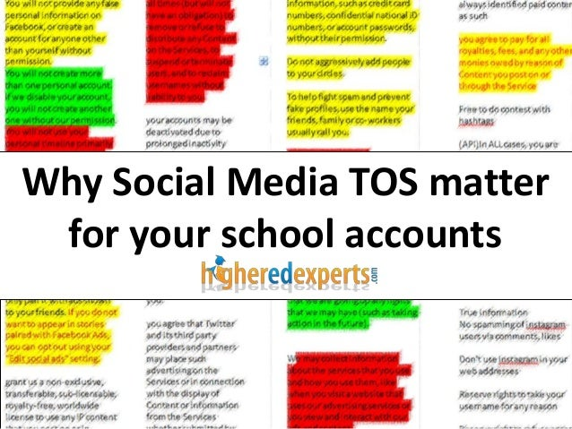 Why Social Media TOS matter for your school accounts