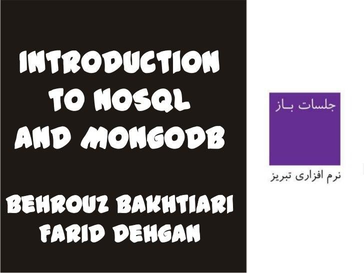 Introduction to NOSQL And MongoDB