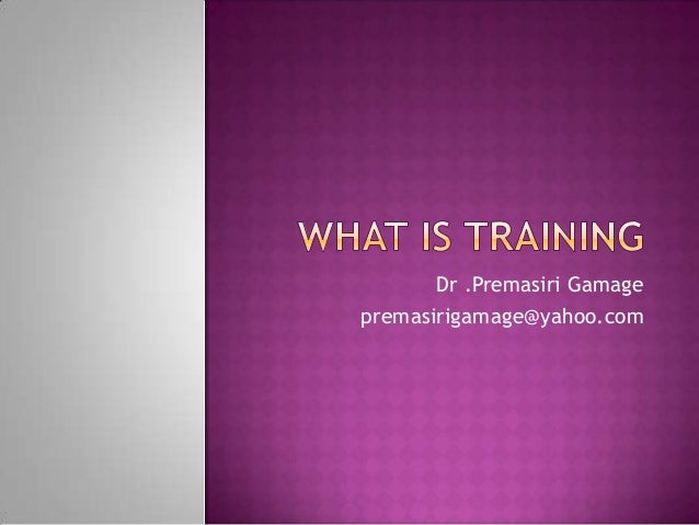 Tot what is training