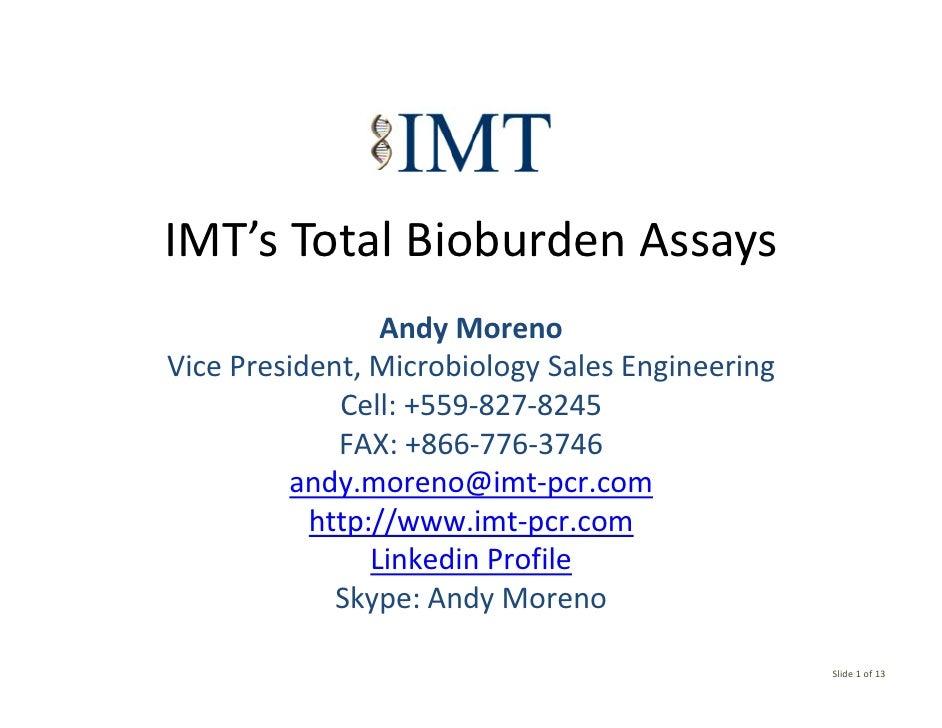 Total Bioburden Assays 04 06 2010